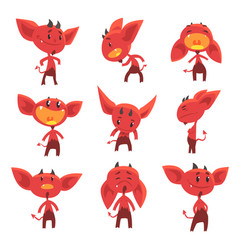 cartoon funny red devil characters with different vector image