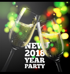 new year banner with champagne glasses vector image