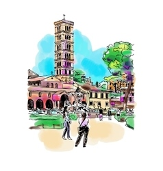 original digital watercolor drawing of Rome street vector image vector image
