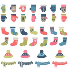 Set of winter clothing vector image vector image