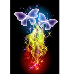 Smoke stars and butterflies vector image