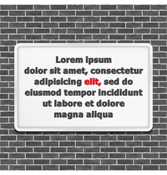 White Frame on Brick Wall vector image vector image
