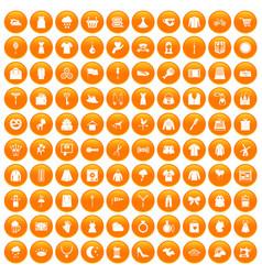 100 dress icons set orange vector image
