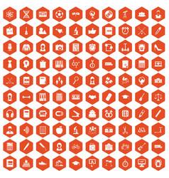 100 hi-school icons hexagon orange vector