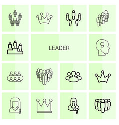 14 leader icons vector