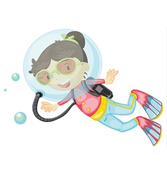 A girl scuba diving vector image