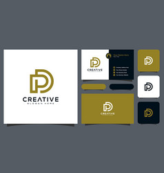 abstract letter dp minimal logo design template vector image