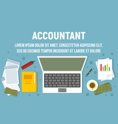 Accountant workspace concept banner flat style vector