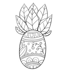 Adult coloring bookpage a cute pineapple vector