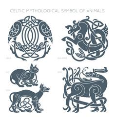 ancient celtic mythological symbol animals vector image