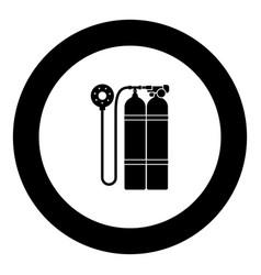 Aqualung scuba icon black color in round circle vector
