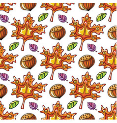 Autumn seamless pattern with leaves and hazelnut vector
