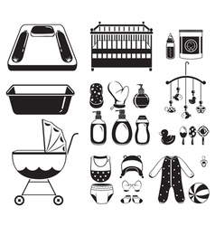 Baby Icons Set Monochrome vector