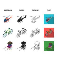 bicycle rickshaw plane yachttransport set vector image