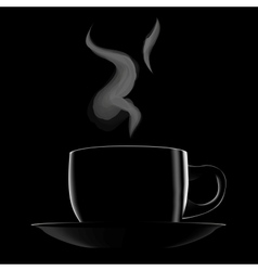Black hot cup of coffee vector image