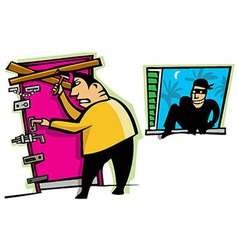 Burglar breaks into house vector image