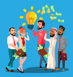 business idea a man holding light bulb in vector image