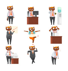 businessman cat in formal clothes in different vector image