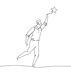 Businessman touching the star - one line design vector