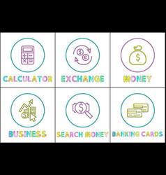 calculation exchange money set vector image