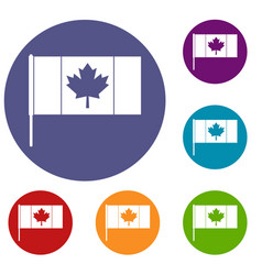 Canada flag with flagpole icons set vector