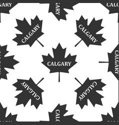canadian maple leaf with city name calgary icon vector image