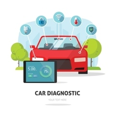 Car diagnostics test service protection insurance vector image