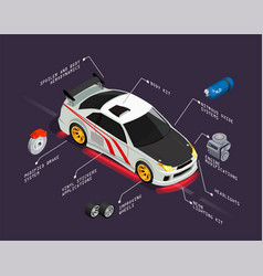 Car tuning isometric poster vector