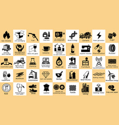 category industry icon set of the world vector image