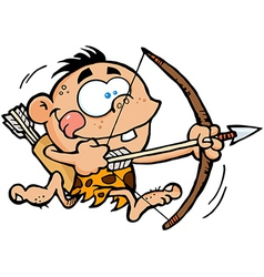 Cave Boy Running With Bow And Arrow vector image