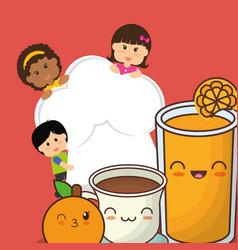 chef children fresh juice chocolate orange fruit vector image