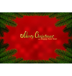 Christmas fir frame red background vector image
