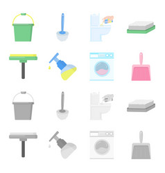 cleaning and maid cartoonmonochrome icons in set vector image