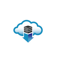 cloud server arrow logo vector image