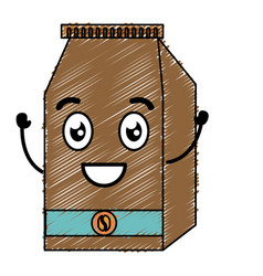 Coffee bag product kawaii character vector
