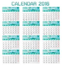 collection calendar 2016 design template vector image