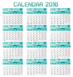 Collection of Calendar 2016 Design Template vector image