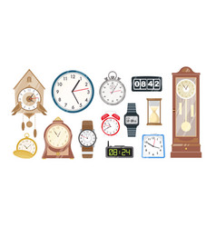 Collection of mechanical and electronic clocks vector