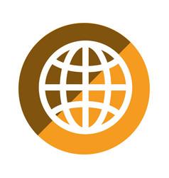 Color circular emblem of world map vector