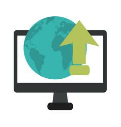 computer upload internet cloud computing vector image