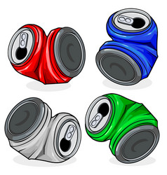 Crushed tin cans vector
