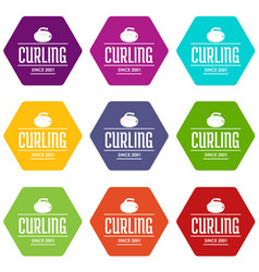 Curling icons set 9 vector