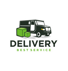 Delivery car service cargo transport logo design vector