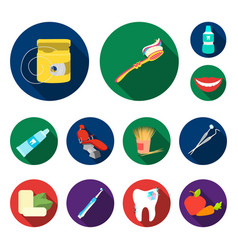 Dental care flat icons in set collection vector