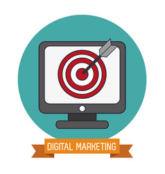 digital marketing online target objetive vector image