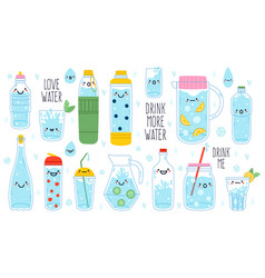 doodle drink more water cute funny hand drawn vector image