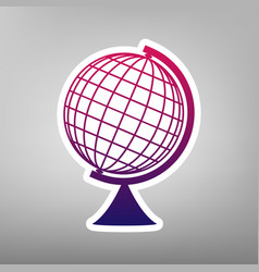 earth globe sign purple gradient icon on vector image
