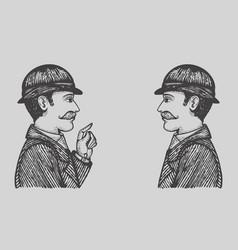 engraved men vector image