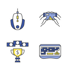 esports color icons set vector image