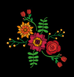 fashion embroidery stitches flowers and leaves vector image